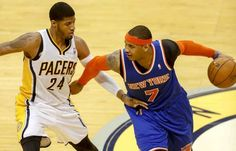 Indiana Pacers forward-guard Paul George made forward Carmelo Anthony uncomfortable in the NBA Playoffs Eastern Conference Semifinals, Game 3.