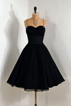 ~1950's Vintage Nathan Strong Couture Silk-Chiffon Black Bombshell Rhinestone Sweetheart Plunge Circle-Skirt Wedding Party Cocktail Dress~