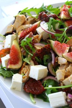 Chicken salad with figs, feta cheese and sun dried tomatoes