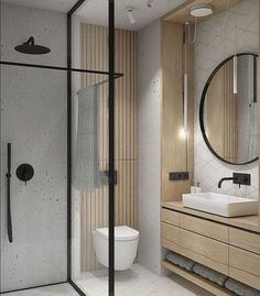 Interiors, Architecture + Life on Check out the towel rail in this beautifully compact bathroom. How clever Design by interno_izagajewska Compact Bathroom, Modern Master Bathroom, Bathroom Toilets, Minimalist Bathroom, Small Bathroom, Bathroom Ideas, Wooden Bathroom, Bathroom Pictures, Bathroom Mirrors