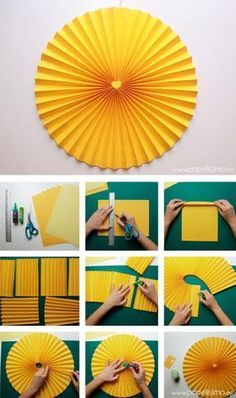 Cómo hacer rosetas o medallones de papel para decorar tus fiestas by amber So you make rosettes or paper medallions to decorate your parties with amber Paper Flowers Diy, Diy Paper, Paper Crafts, How To Make Paper Flowers, Kids Crafts, Diy And Crafts, Fall Crafts, Paper Decorations, Birthday Party Decorations