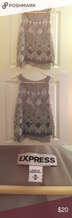 Express Tank Top Grey and sequins tank top. Express. Layered back. Express Tops Tank Tops