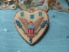 WW II Celluloid Heart Necklace
