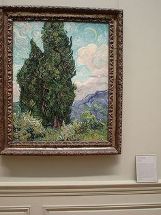"""From the Met: Van Gogh created this painting shortly after confining himself to a mental asylum in the south of France. He considered the motif of cypress trees """"as beautiful of line and proportion as an Egyptian obelisk. Van Gogh Drawings, Monet, Virtual Art, Art Hoe, Vincent Van Gogh, Beautiful Paintings, Pretty Pictures, Japanese Art, Art History"""
