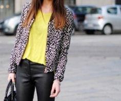 Yellow shirt and printed jacket.