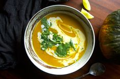 Turmeric Pumpkin Soup with Coconut & Lime