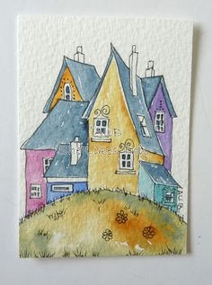 House no. 1 An ACEO original watercolour painting by shelikesthis, £10.00