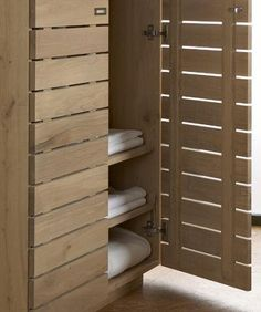 Oak Continental SLATTED Wardrobe by edenforest.co.uk. Could DIY something like this for a sliding wardrobe door?