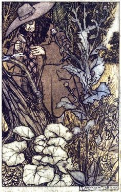 Sir Thomas, her lord, was stout of limb.  Arthur Rackham, from The Ingoldsby legends, by Thomas  Ingoldsby 1907. -67