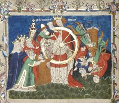 he Queen of Fortune wields the wheel of fortune, while two male figures (Holy Text and Scripture) and two female figures (Gloss and Moralization) assist various personages in rising before their inevitable fall. Illustration from John Lydgate's Siege of Troy; unknown English artist, mid-15th century. Now in the University Library of the University of Manchester, England.
