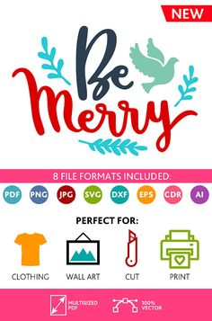 Be Merry SVG Cut Files Wall Art Quote Printable Art Decor room Art Printable Poster digital (Svg Dxf Cdr Eps Ai Jpg Pdf Png)