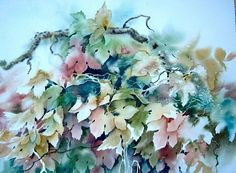 Art 'Leaves' - by Pamela K Wilhelm from watercolor Watercolor Negative Painting, Watercolour, Art Portfolio, Art Day, Floral Wreath, Leaves, Painting Flowers, House Projects, House Styles