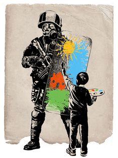 Turmoil Paint Canvas Wall Art by Rob Dobi Banksy Graffiti, Arte Banksy, Street Art Banksy, Bansky, Protest Kunst, Protest Art, Art And Illustration, Palestine Art, Urbane Kunst
