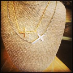"""Sideways Necklace - 18"""" beautiful dainty sideways cross accented with dainty chain.  Available in gold or silver - $34.00"""