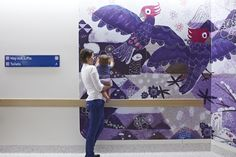 Mountain Tops Scene Level 4, The Royal Children's Hospital: Wayfinding strategy by Buro North with illustrations by Jane Reiseger. See more at jackywinter.com