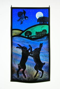 'Boxing Hares' by stained glass artist Tamsin Abbott Stained Glass Paint, Stained Glass Crafts, Stained Glass Designs, Stained Glass Panels, Stained Glass Patterns, Hare Pictures, Rabbit Art, Decoration, Glass Art