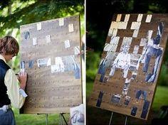 Animation et livre d'or en un ! Une photo du couple en très grand format, coupée en petits morceaux. Les invités écrivent des petits mots au dos des pièces et les collent sur le tableau pour révéler la photo au fur et à mesure...