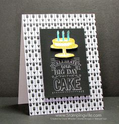 Chalkboard look birthday card with Stampin' Up! Big Day stamp set. #cardmaking #papercrafts #StampinUp