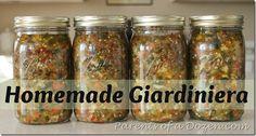 Homemade Giardiniera - for Italian beef Italian Beef, Italian Recipes, Home Canning, Canning Recipes, Preserving Food, Vegetable Recipes, Smoothie Recipes, Dips