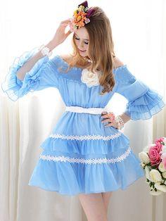 Morpheus Boutique  - Blue Chiffon Layer Off Shoulder Pleated Princess Dress