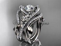 Platinum diamond engagement ring set One Moissanite double band ADLR369SP