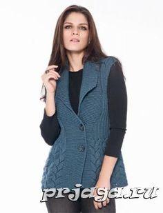 Женская жилетка спицами Knitting Designs, Knitting Patterns Free, Free Knitting, Free Pattern, Smoking, Knit Vest, Fall Collections, Rubrics, Ideias Fashion