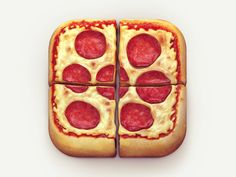 I like the way the designer cut the slices of pizza up inside the icon. At first glance this icon doesn't look like the regular rounded rectangle, but it is. The detail in the cheese, pepperoni, and tomato sauce give it a realistic feel. The shading on th Web Design, App Icon Design, Food Design, Game Design, Graphic Design, Mobile Application Design, Application Icon, Pizza Icon, Italia
