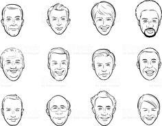 Pizarra acrílica dibujo avatar sonriente hombre de dibujos animados caras vector de stock libre de derechos