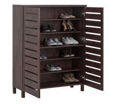 Buy HOME Large Slatted Shoe Cabinet   Mahogany Effect At Argos.co.uk