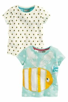 Buy Bee Appliqué And All-Over Print Tops Two Pack from the Next UK online shop Next Uk, Uk Online, Latest Fashion For Women, Polka Dot Top, Children, Kids, Applique, Prints