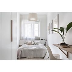 All white small bedroom interior design ideas. Minimal style home. Home decor. Small Apartments, Small Spaces, Urban Outfitters Bedroom, Small Guest Rooms, Small Bedroom Furniture, Bedroom Decor, 50s Bedroom, Bedroom Table, Bedroom Size