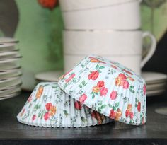 25 Vintage Floral Cupcake Liners Light Blue by eviespartyshoppe, $2.75