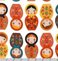 Two (2) Yards-  Little Kukla in Autumn Colors by Robert Kaufman Fabrics ASD-12817-256 RETRO