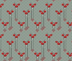 gray scallops and red poppies fabric by michaelakobyakov on Spoonflower - custom fabric Of Wallpaper, Pattern Wallpaper, Buy Fabric Online, Spoonflower Fabric, Scallops, Red Poppies, Creative Business, Custom Fabric, Duvet Covers