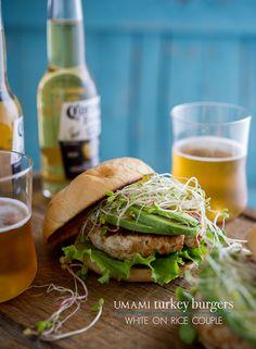 YUM: umami rosemary turkey burgers with avocado.
