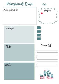 Planner 2019 Calendário Cactos Pdf Feriados Nacionais - R$ 20,00 em Mercado Livre Kids Planner, Planner Pages, Happy Planner, Printable Planner, Planner Stickers, Printables, Diy Agenda, Agenda Planner, Weekly Planner