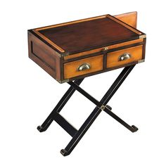 Authentic+Models+War+Chest+-+Honey+maple+and+walnut+antique+side+table. Steeped+in+history,+the+Authentic+Models+War+Chest+will+give+your+interior+a+nostalgic+edge. Sculpted+from+contrasting+honey+and+maple+wood+with+elegant+brass+detailing,+this+antique+inspired+chest,+provides+inner+storage+across+two+drawers,+complete+with+a+crossed-leg+stand+to+form+a+charming+side+table. The+light+wooden+drawers+contrast+wonderfully+with+the+dark+maple+table+top+as+brass+detailing+completes+the+look+...