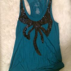Teal tank top NWOT never worn. Bow sequin front XL racer back Miley Cyrus Max Azria Tops Tank Tops