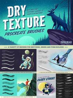 Dry Texture Brushes for Procreate - This set of brushes involves a mixture of pencil, inked and rough sketches for the creation of unique and classy textures for the users. Digital Painting Tutorials, Digital Art Tutorial, Best Procreate Brushes, Watercolor Kit, Ipad Art, Art Graphique, Illustrator Tutorials, Texture, Design Projects