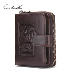 CONTACT'S Brand Men Genuine Leather Wallets Card Holder Luxury Purse Designer High Quality Business Mini Wallet Dollar Price