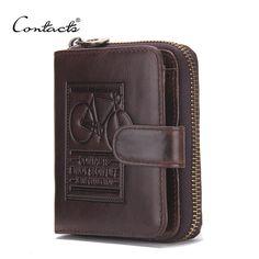 CONTACT'S Marke Männer Echtes Leder Brieftaschen Kartenhalter Luxus Handtasche Designer Hohe Qualität Business Mini Geldbörse Dollar Preis