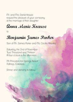 Watercolor Wedding Invitation Set - PRINTABLE. $25.00, via Etsy.