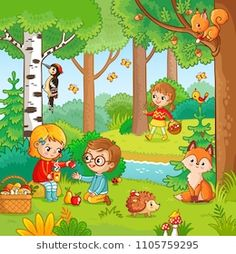 Buy Picnic in the Forest with Children by svaga on GraphicRiver. Picnic in the forest with children. Vector illustration with boy and girl who drink tea in cartoon style. Children in. Art Drawings For Kids, Drawing For Kids, Cartoon Styles, Cartoon Pics, Math For Kids, Activities For Kids, Diy Party Bags, Picture Comprehension, Sequencing Pictures