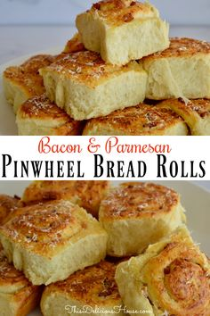 Hot and flaky Pinwheel Bread Rolls are made from scratch and filled with delicious bacon and parmesan cheese. Perfect dinner rolls or savory breakfast bread Brunch Recipes, Bread Recipes, Baking Recipes, Breakfast Recipes, Appetizer Recipes, Dinner Recipes, Quick And Easy Breakfast, Savory Breakfast, Breakfast Casserole