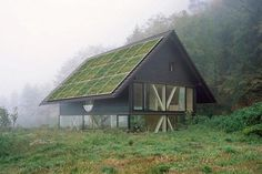"""Starting next year, Sistine Solar will begin selling """"SolarSkin"""" panels that blend in with the texture of a roof by mimicking tiles, slate, wood shingles and other materials. Want a truly green roof? Sistine Solar panels can be made to look like grass. Timber House, Wooden House, Interior Photography, House And Home Magazine, Modernism, Contemporary Architecture, Architecture Interiors, Solar Panels, Facade"""