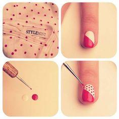 Polka dot nails girly cute nails girl nail polish nail pretty girls pretty nails nail art by brittney Nail Art Diy, Easy Nail Art, Diy Nails, Love Nails, How To Do Nails, Pretty Nails, Do It Yourself Nails, Nagellack Design, Polka Dot Nails