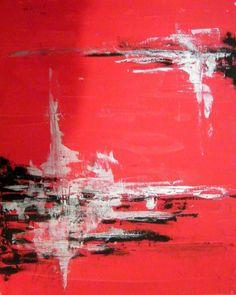 TABLEAU PEINTURE rouge abstrait deco design - Les 5