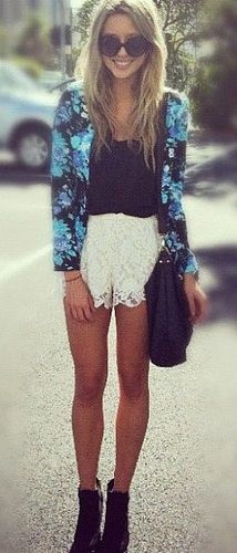 Lace shorts + floral prints.