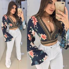 Casual Night Outfits, Hot Outfits, Fashion Outfits, Womens Fashion, Fashion Trends, Mexican Outfit, Embroidery Fashion, College Outfits, Blouse Designs