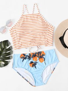 SheIn offers High Neck Striped Bikini Set & more to fit your fashionable needs. Bathing Suits For Teens, Summer Bathing Suits, Cute Bathing Suits, Summer Suits, Summer Wear, Trendy Swimwear, Cute Swimsuits, Cute Bikinis, Swimwear Fashion